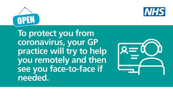 To protect you from coronavirus, your GP practice will try to help you remotely and then see you face-to-face if needed.